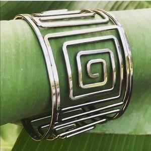 A Stainless Steel Greek Key Cuff Bracelet